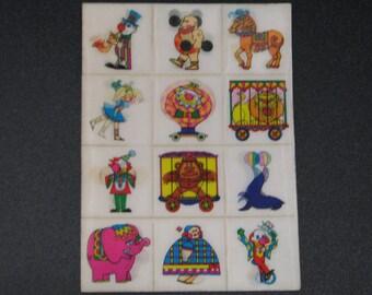 1960's dime store lenticular  vari-vue style sticker sheet # (02)