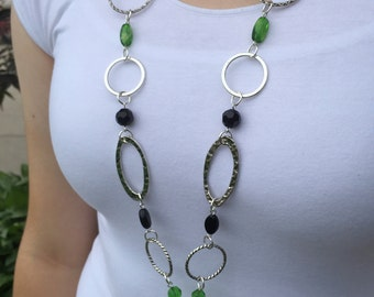 Green, Black, and Silver Lanyard Necklace