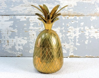 Solid Brass Pineapple VIntage Hollywood Regency Home Deoor Barware Condiment or Small Ice Bucket Stash Box Candle Holder Mid Century Barware