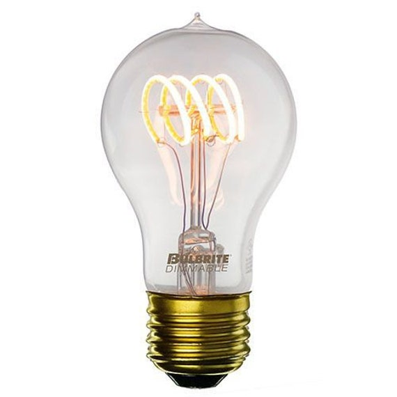 A19 Led Filament Bulb Nostalgic Edison Style 4w To Replace: LED A19 Antique Loop Curved Filament Dimmable Edison