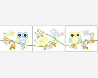 Baby Girl Nursery Art Owl Butterflies Birds Baby Nursery Prints Yellow Blue Pink Purple Baby Girl Nursery Girl Room Decor Baby Nursery Decor