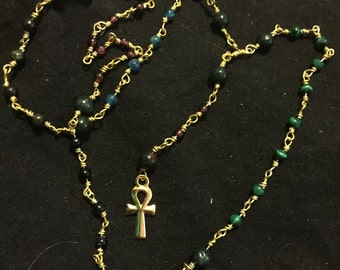 Delicate Kemetic Prayer Beads Ankh Goldtone and Gemstones