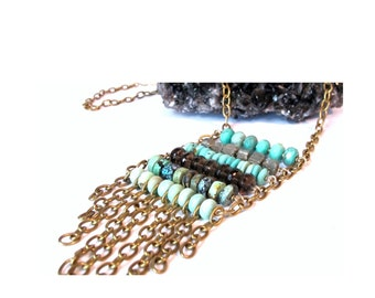 2200 Long Necklace with Amazonite, Pyrite, Turquoise, Smokey Quartz Necklace