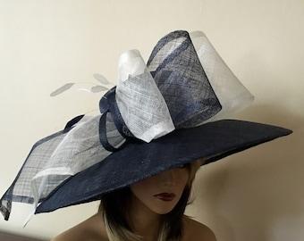 Kentucky Derby hat. Navy blue hat. Derby hat. Del Mar hat. Couture hat