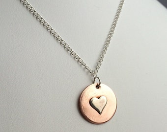 Mixed Metals Necklace- Heart