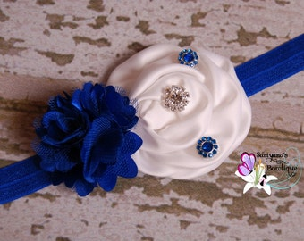 Royal Blue White Satin Tulle Flower Rhinestone Headband - Baby Toddler Girl Woman - SB-088