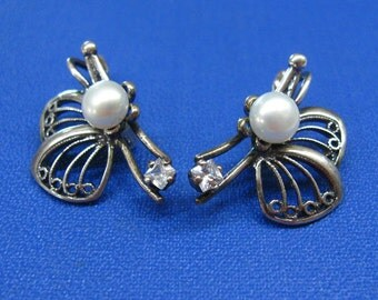 Vintage Freshwater Pearl Earrings Butterfly jewelry lever back clasp Art Deco filigree earrings Russian vintage 80s wedding bridal jewelry