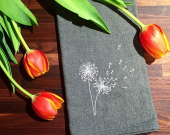 Dandelions tea towel, kitchen towel, embroidered eco-friendly hemp organic cotton towel, wedding gift