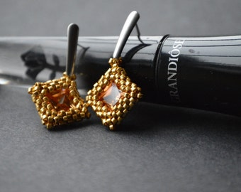 Beaded Zirconia Earrings - Champagne