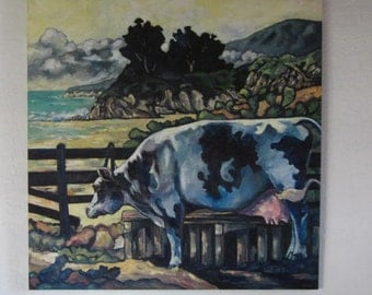 "Cow Oil Painting  ""Cow By Ocean"""
