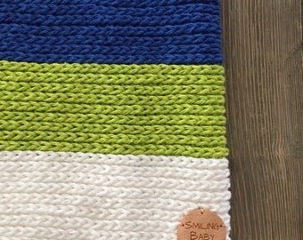 Boy's scarf. Boy's cowl. Toddler blue, green and white scarf. Crochet baby boy cowl.