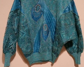 Dino Valiano Women's Turquoise/Blue/Green Knit Sweater Vintage 80s