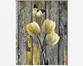 Rustic Tulip Flowers Butterfly Decor, Rustic Yellow Gray Bathroom Bedroom Decor, Country Farmhouse Yellow Decor Matted Picture