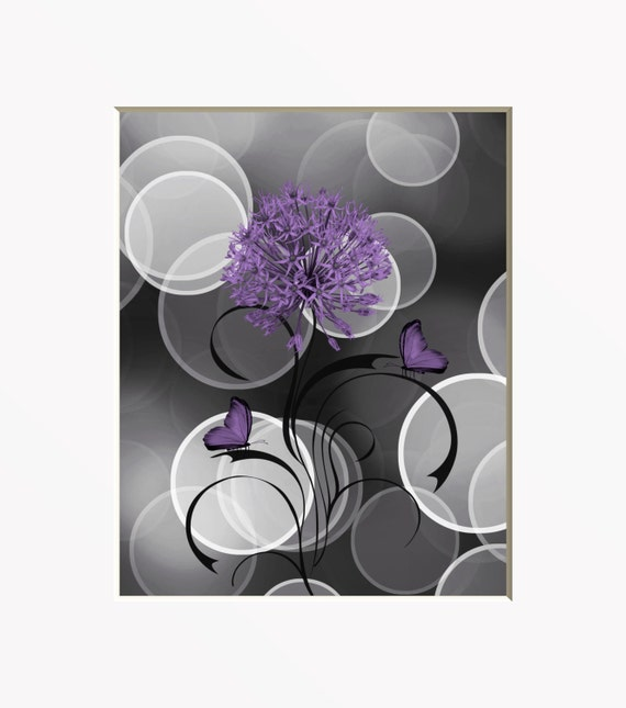 purple gray floral modern home wall art by littlepiephotoart. Black Bedroom Furniture Sets. Home Design Ideas