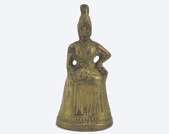 Brass Bell, Woman Shaped Bell, Woman in Dress Brass Bell, Brass Figurine Bell, Vintage Brass Bell, Brass Woman Figurine, Vintage Brass