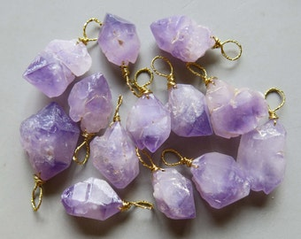 Brass Wire Wrapped Natural Amethyst Druzy Cluster Pendant B449