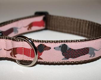 """Dachshund Hound Pink Dog Collar 1"""" Wide"""