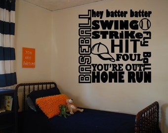 Sports Wall Decal Etsy - Vinyl wall decals baseball