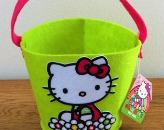 Hand Embellished Hello Kitty Felt Pail/Easter Basket