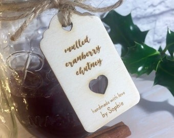 Engraved Wooden Love Heart Mason Jar Pantry Tags // Handmade by.. Personalised Christmas Foodie Gift Tag
