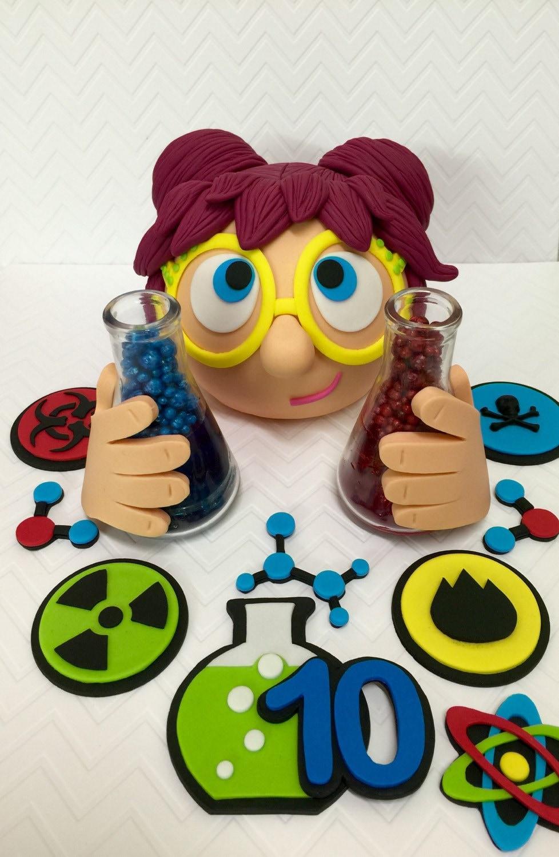 Fondant mad scientist cake topper set mad science birthday zoom gamestrikefo Choice Image