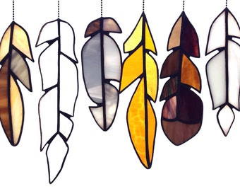 Item #218 Stained Glass Feathers - Neutrals