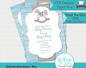 Baby Rocking Horse Boy - Printable Baby Shower Invitation / Card
