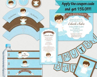 Baptism Angel Boy Printable Party Collection {Package}