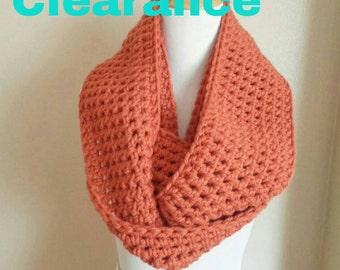 Chunky orange infinity scarf , infinity scarf, chunky orange scarf, Crochet, scarf, cowl, neckwarmer, fashion scarf, chunky scarf