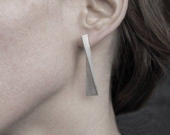 Long silver earrings, geometric silver studs, minimalist silver earrings, long post earrings, long geometric earrings