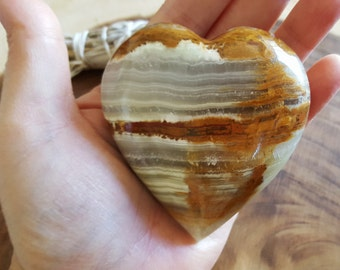 Pakistani Onyx Heart ~ One Reiki Infused gemstone heart approx 3 x 3 inches (H03)