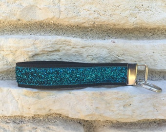 Teal Glitter Keychain Wristlet Car Accessories for Women - Key Wristlet Keychain Bracelet - Key Chain Gift for Her- New Driver Teen Keychain