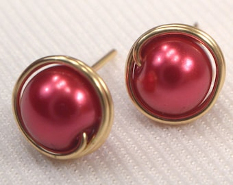 Red Pearl Post Earrings. Gold Wire Wrapped Post Earrings, Red Pearl Stud Earrings, Red Bead Ear Studs, Red & Gold Earrings (E18)