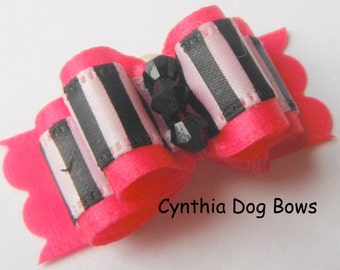 Dog Bow 5/8- Shocking Pink with Black and White Stripes