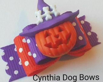 Halloween Dog Bow 5/8-  Jack 0'Lantern with Skeleton Witch Hat