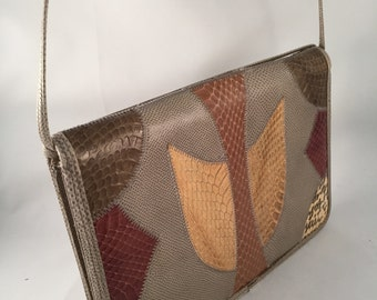 1970's Faux Snake Skin Purse Multi Color Retro