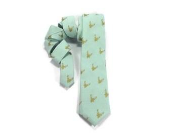 Stag head tie, antler necktie, stag tie, gold deer antler, pale mint green, wedding tie, antler silhouette, gold and mint tie
