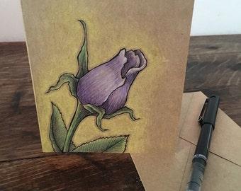 Purple Rose Bud - Hand Drawn Greeting Card