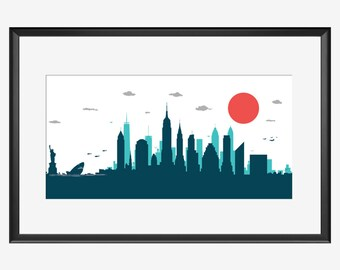 New York skyline print, Jaws movie inspired print, New York Print, New York poster, Shark print, Jaws print, Jaws poster, Shark poster, art