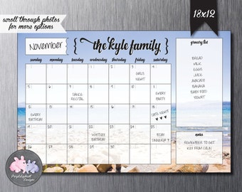 Perpetual Personalized Family Calendar / Lake Tahoe / Dry Erase Magnetic Calendar for Fridge or Wall / Custom Calendar w Dry Erase Marker