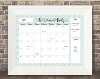Perpetual Dry Erase Personalized Family Calendar / Office Calendar / Dry Erase Wall Calendar / Custom / Large 16x20 Printed Calendar 16 x 20