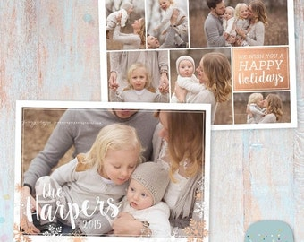 SALE NOW ON Christmas Card Template - Christmas Photo Card - Photoshop template - Ac074 - Instant Download