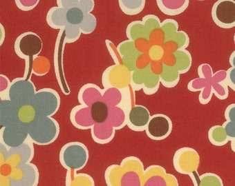 Modern flowers multi coloured, red background OZ quilting fabric 32232-12