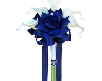 """7.5"""" bouquet-real touch calla lily with Royal blue roses rhinestone"""
