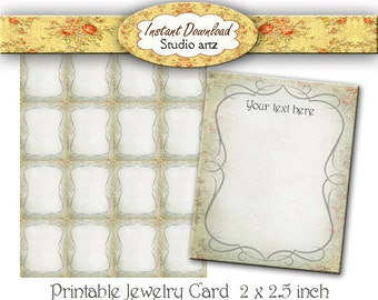 Printable Jewelry Cards, Earring Cards, Jewelry Display Cards, Instant Download Ear Cards, Printable Earring Cards