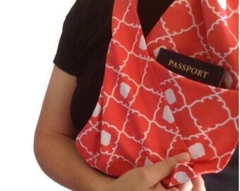 hidden pocket scarf, travel scarf, pocket scarf, travel scarf with pocket, passport scarf, scarf with zipper pocket, zipper pocket scarf