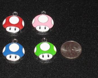 Mario Mushroom Toad Enamel Pendant Charm(s) Only