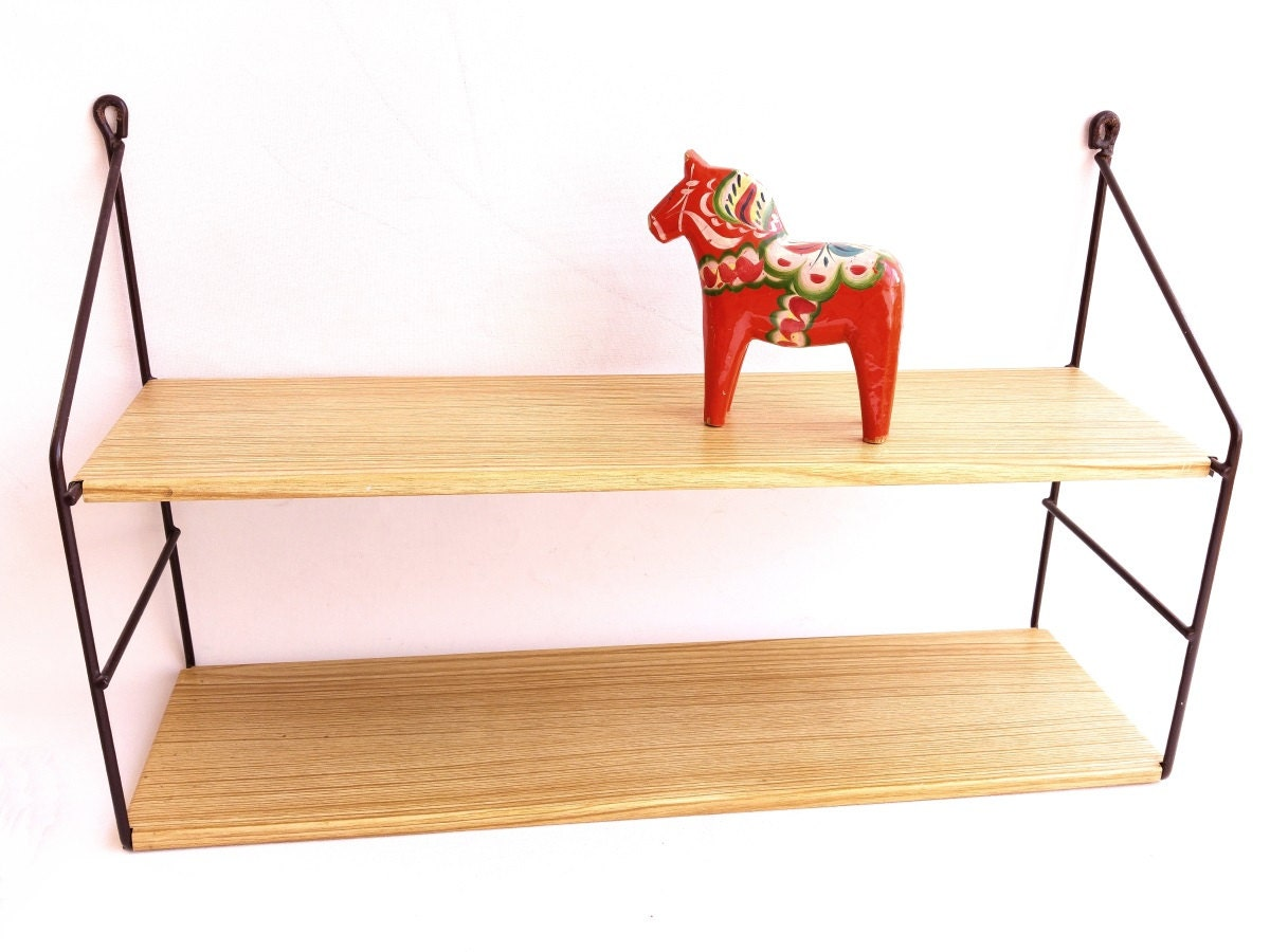 vintage string shelves small wall unit metal wall shelves. Black Bedroom Furniture Sets. Home Design Ideas