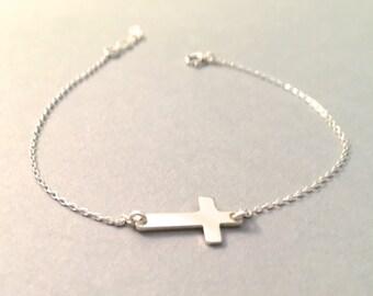 Sterling Silver Cross Bracelet, Gold Filled Cross Bracelet, Rose Gold Filled Cross Bracelet, Sideways Cross Bracelet