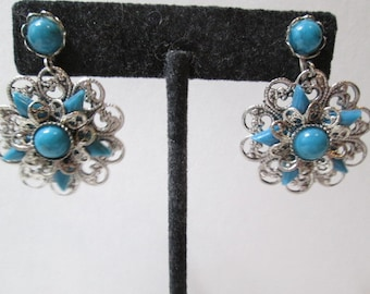 Faux Turquoise Dangle Star Flower Screw Back Earrings Fancy Frilly Southwestern Style